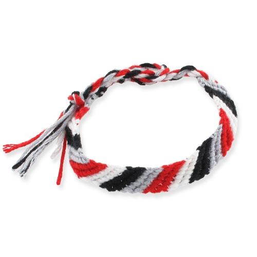 Brasilianisches Armband 10mm Rot/Grau/Schwarz/Weiß x1 - Perles & Co