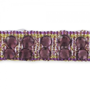 Hotfix Band mit Strass 7 mm Golden/Amethyst x50cm