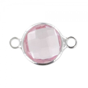 Glas Spacer 2 Ringe 17x11 mm Light Rose/silberfarben x1