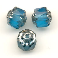 Antik Glasschliffperlen 6mm Dark Aquamarine Old Sil