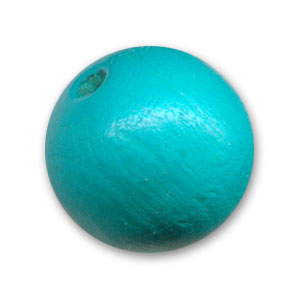 Wooden round beads 15mm Turquoise x5