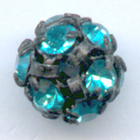 Kugel Strass 6mm Black Aquamarine