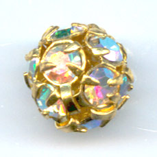 Kugel Strass 8mm Gold-colored Crystal AB