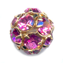 Kugel Strass 10mm vergoldet Rose