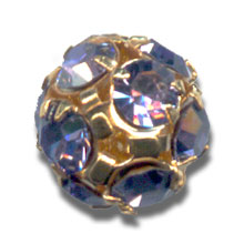 Kugel Strass 8mm Gold-colored Tanzanite