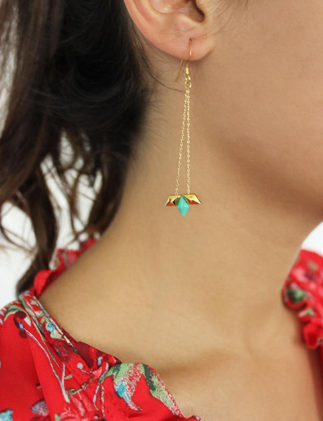 Ohrringe Kette und Miyuki Diamonduo - Perles & Co