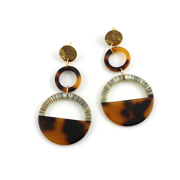 Schildpatt-Ohrringe mit goldenem Kupferdraht - Perles & Co