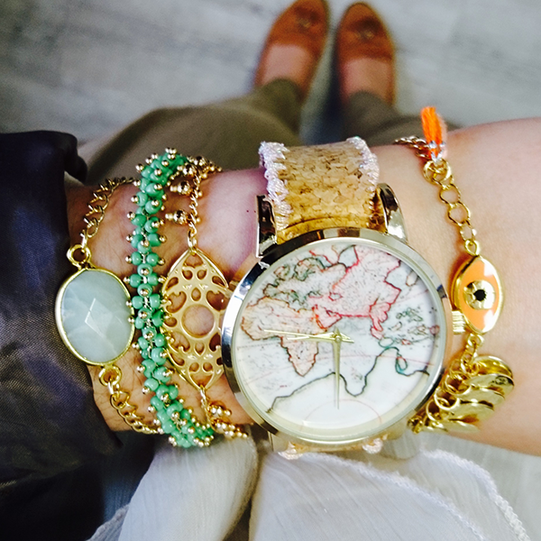 Uhr DIY gestickte Weltkarte Liege Armband - Perles & Co