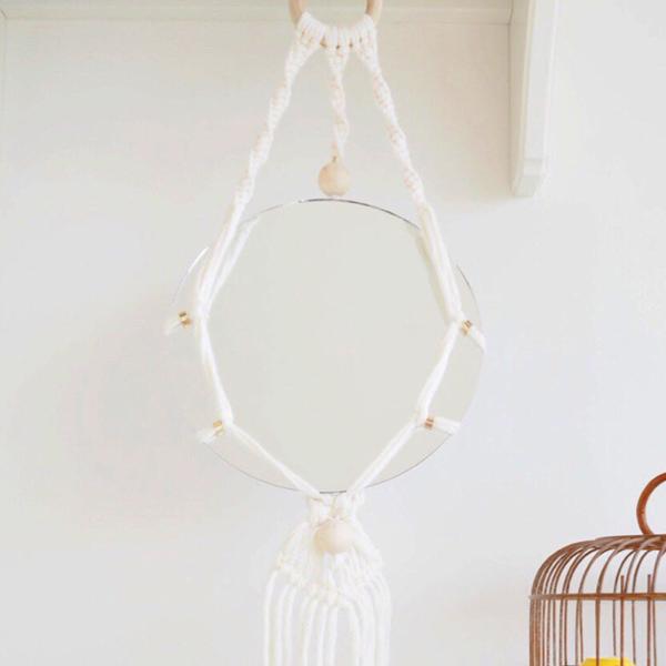 diy spiegel h ngen makramee und holzperlen trend perles co. Black Bedroom Furniture Sets. Home Design Ideas