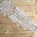 Dreamcatcher easy DIY lace crochet doily and jersey fringes