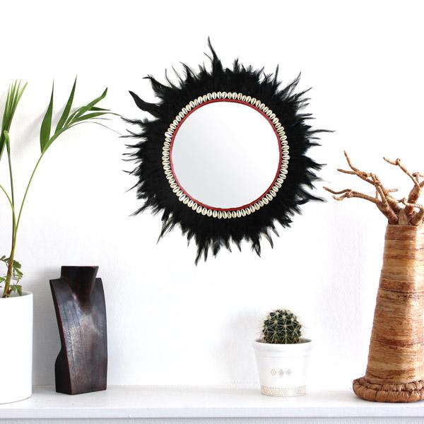 Sehr Spiegel mit Federn und Muscheln - Perles & Co PR06