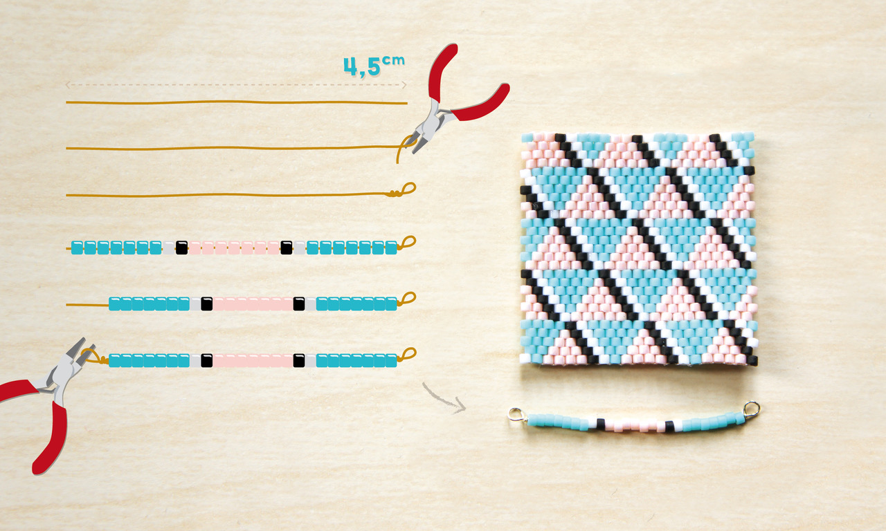 Brick Stitch-Halskette Weben Türkis und helles Rosa mit geometrisc ...