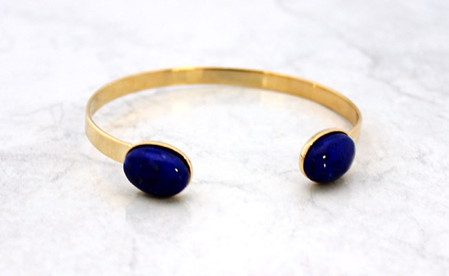 Stacking bracelet nom Micro Spacers gold filled et Jonc Lapis Lazuli 1