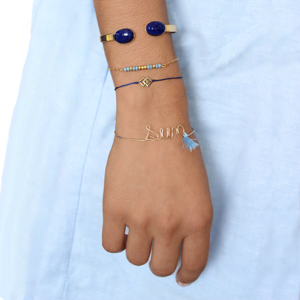 Stacking bracelet nom Micro Spacers gold filled et Jonc Lapis Lazuli