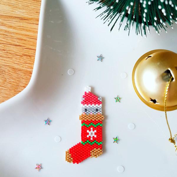 Weihnachtsstrumpf Muster Weben Ziegel Stich mit Perlen Miyuki 11/0 ...