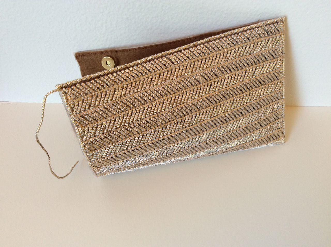 Plastiksack golden Leinwand und Geflecht - Perles & Co