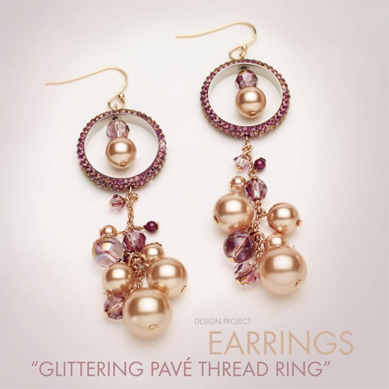 Ohrring Glittering Pavé mit Swarovski Perlen - Perles & Co
