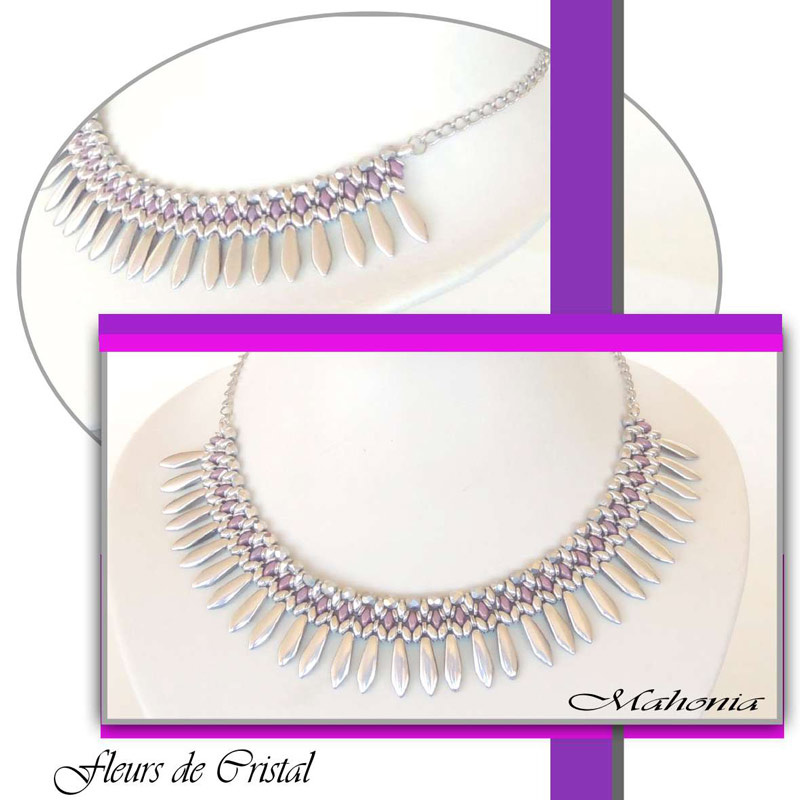 Halskette Mahonia mit Daggern, SuperDuo und O-Beads - Perles & Co