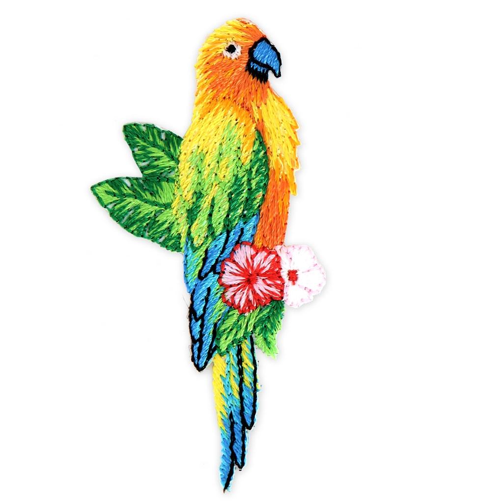Aufbügel Applikation Flitter - tropische Vögel 70x40 mm Papagei x1 ...