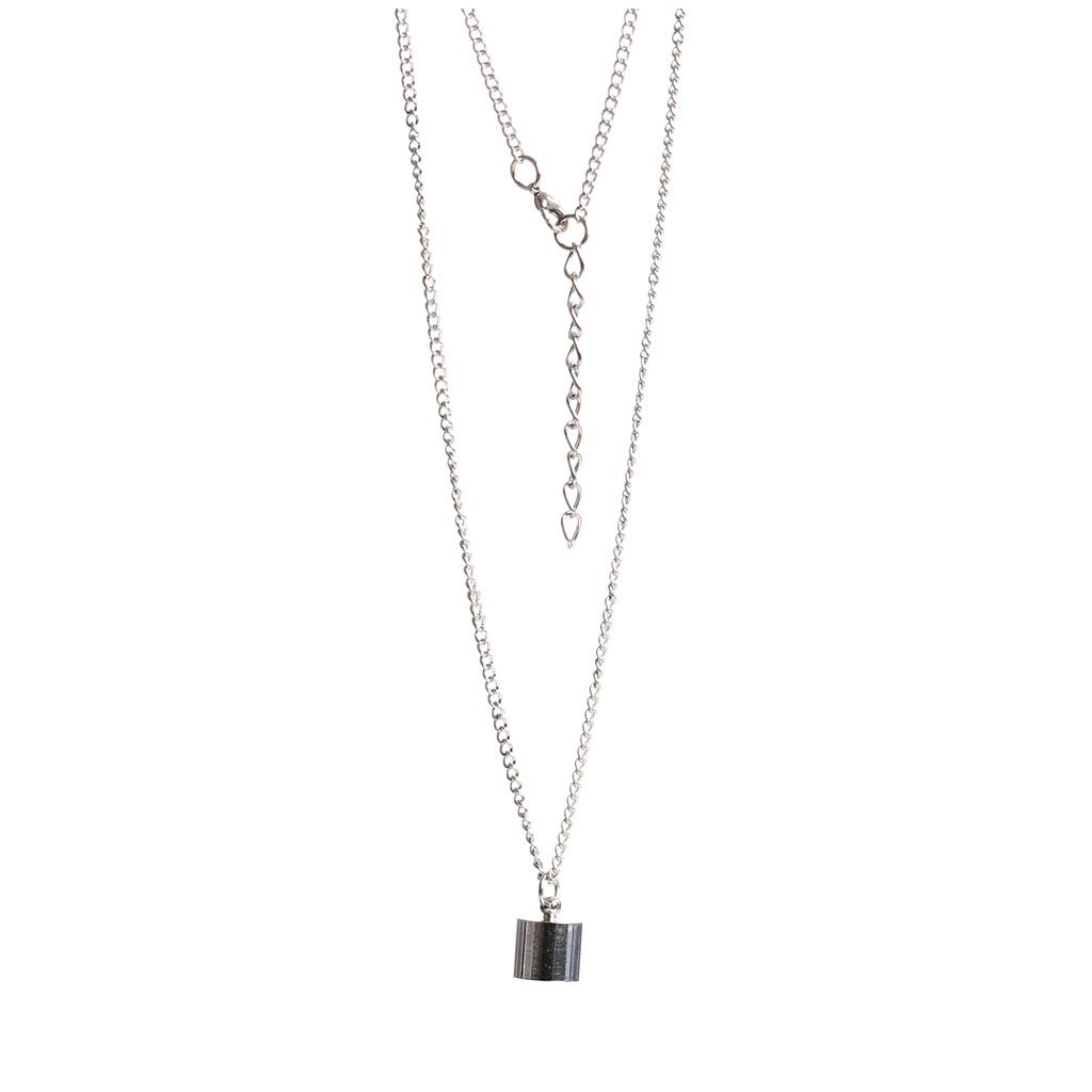 Halskette mit Anhänger aus Glas zu befüllen 38x10 mm - Zahn silber ...