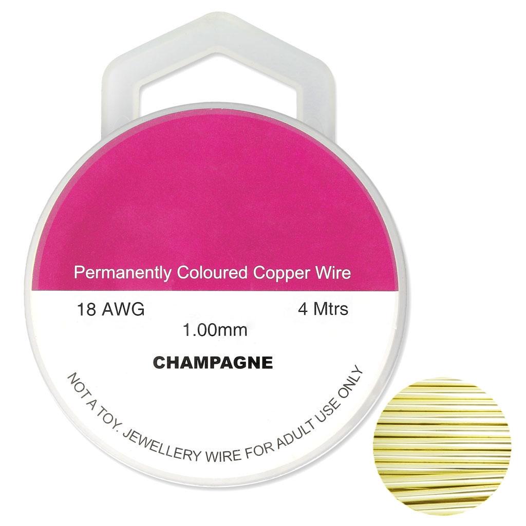 Kupferdraht 1 mm Champagne x4m - Perles & Co