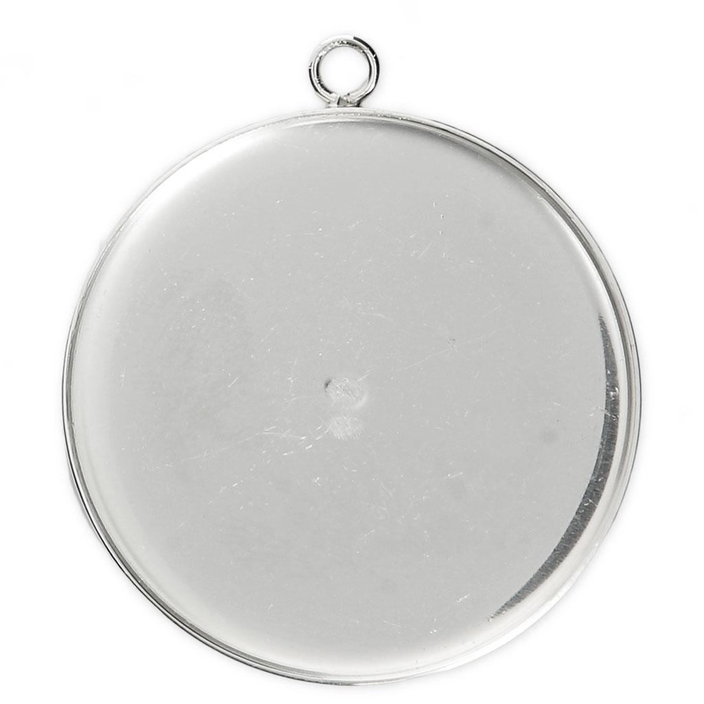 Anhänger Fassung für flachen Cab. 30 mm aus 925 Silber x1 - Perles & Co