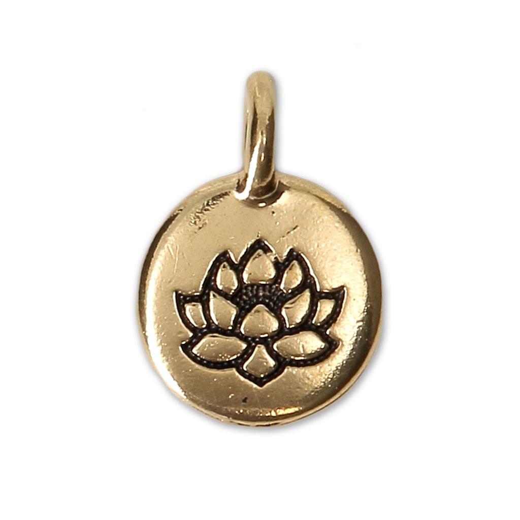 Runde Medaille Motif Fleur De Lotus 11 5 Mm Antik Goldfarben X1