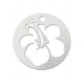 925 Silber Hibiscus Medaille 10mm x1