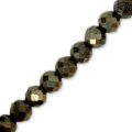 Facettierte Rundperlen 4 mm Gemsteine Pyrite x36cm