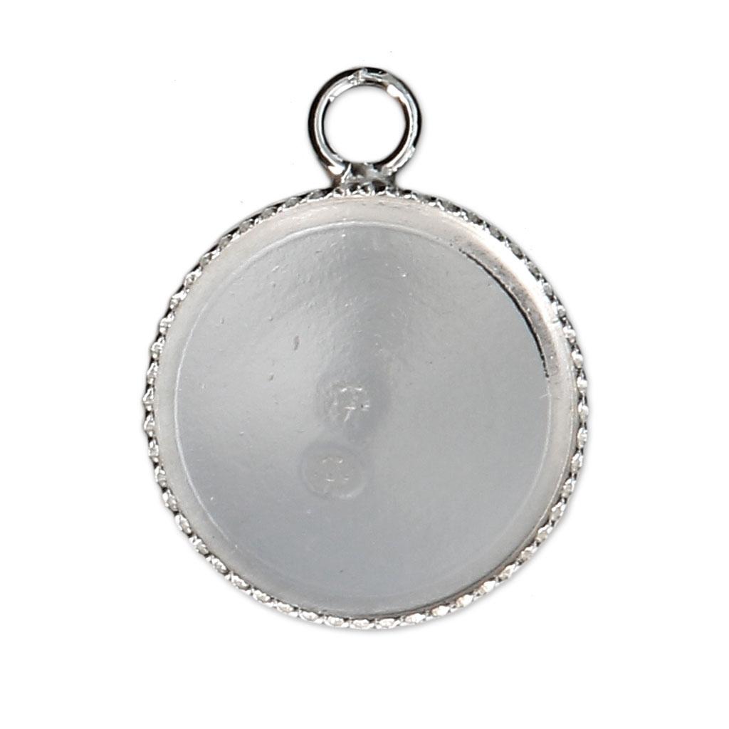 Anhänger Fassung für flachen Cab. 14 mm aus 925 Silber x1 - Perles & Co