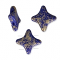 Glasperlen Star Bead von Perles and Co 11x11 mm Op Sapphire Gold Splash x30