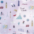 Stoff aus Gewachster Baumwolle - Travel the world  - Rosa x10cm