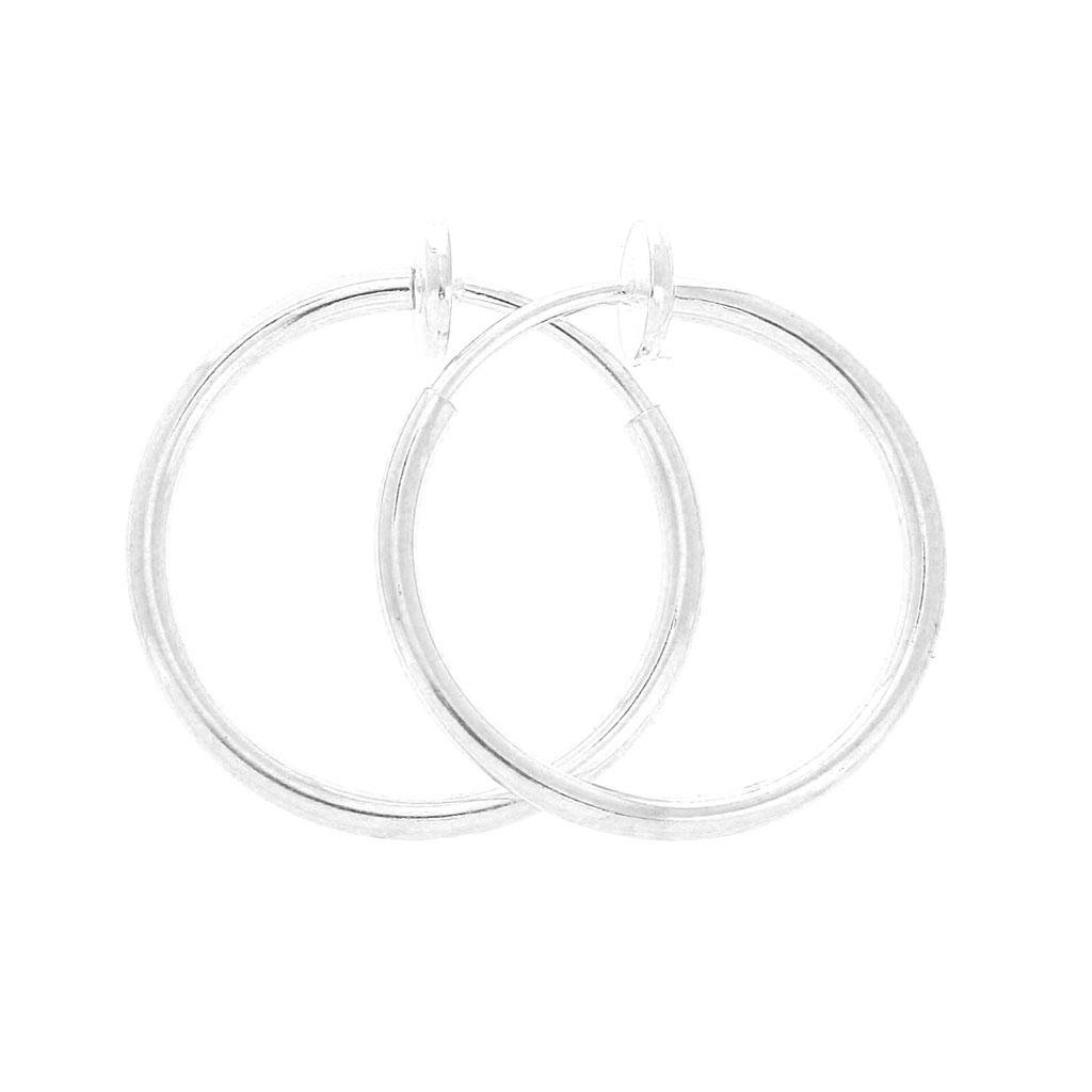 noch eine Chance Bestbewertete Mode Genieße den reduzierten Preis Mini Druck-Creolen für ungelöcherte Ohren - 20x1.6 mm - Silberfarbenx2