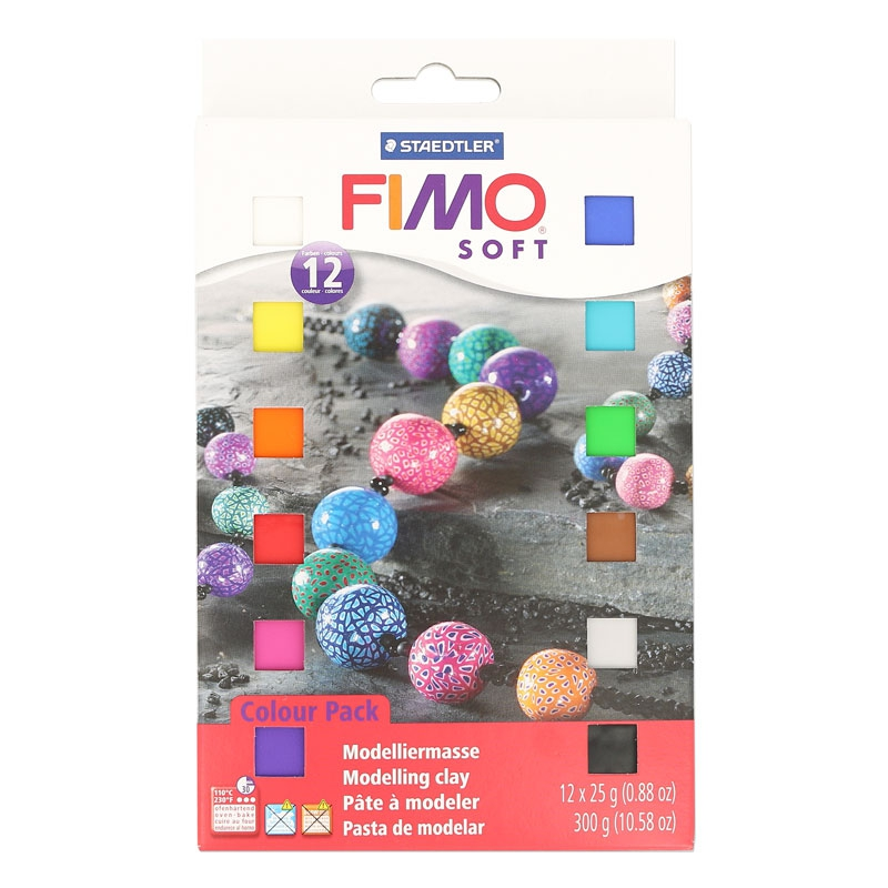 Fimo Soft Modellier Masse Sortiment 12 Farben Perles Co