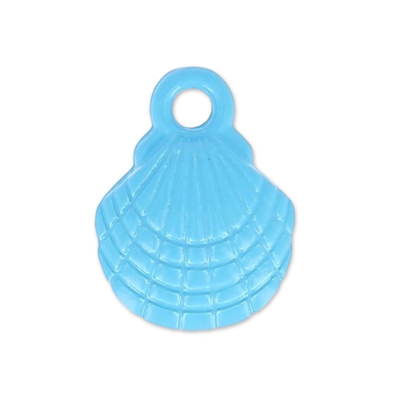 Gefärbter Anhänger Muschel 10x13 mm Blau x1 - Perles & Co