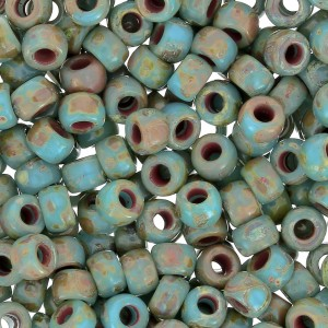 Rocailles Matubo 7/0 - 3.5 mm Blue Turquoise Picasso x10g