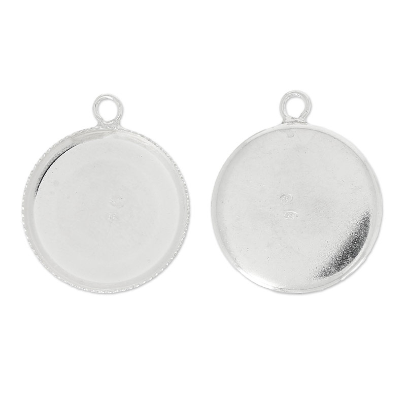 925 Sterling Silber Fassung für Cabochons 20mm x1 - Perles & Co