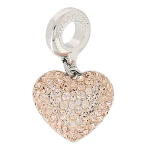 Swarovski 86502 Pavé Charm 14 mm Light Peach/Silk x1