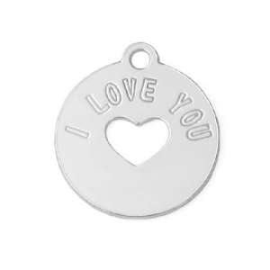 Breloque médaille I love you 13 mm aus Silber 925 x1