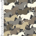Gewebe Houndstooth & Friends - Taupe Unicorn Herd x10cm