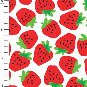 Gewebe Fruit Salad - White Strawberry Fields x10cm