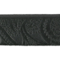 Flaches Lederband Muster Paisley 15 mm schwarz x50cm