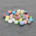 Cabochon Perle 2 Löcher 6 mm Pastel Light Grey/Silver x20