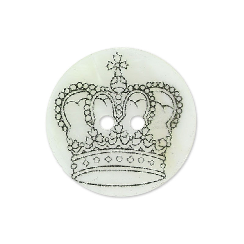 Perlmutt Knopf Krone 15 mm schwarz/weiß x1 - Perles & Co