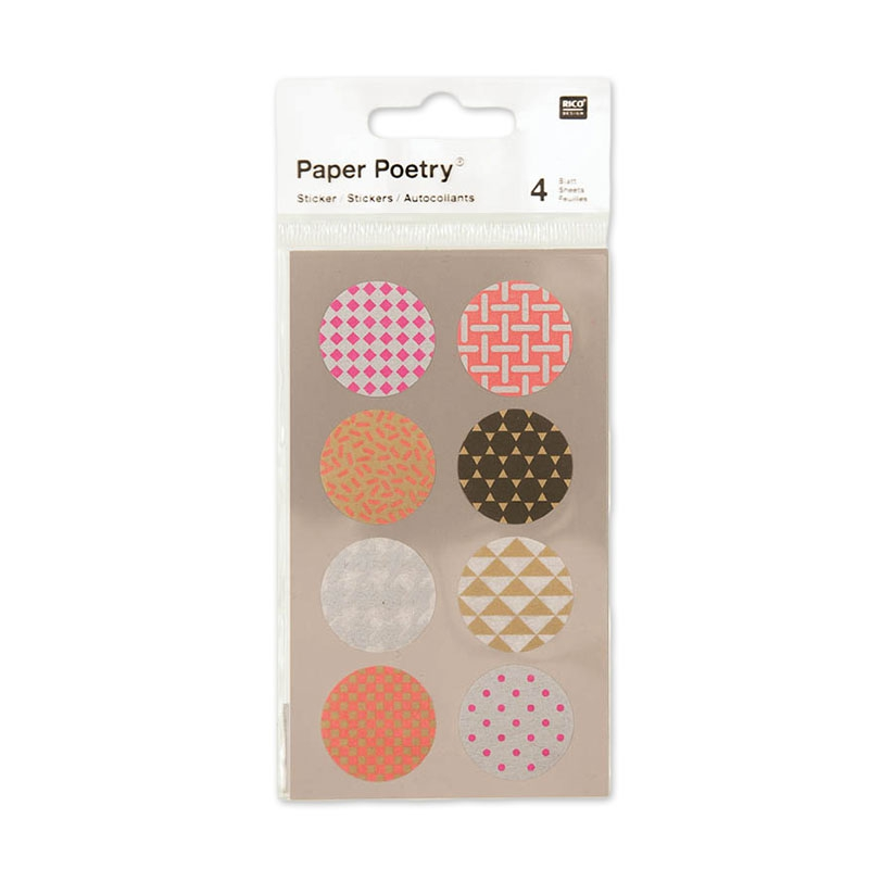 aufkleber paper poetry rund aus washi papier 25 mm mix fluo x32 perles co. Black Bedroom Furniture Sets. Home Design Ideas