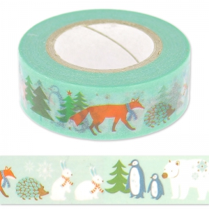 Paper Poetry Tape 15 mm Tiere Minz x10m