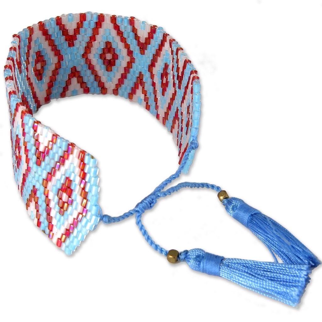 Freundschaftsarmband aus Rocailles Navajo Muster 28 mm Himmelsblau ...
