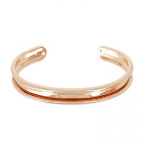 Eco Breiter Armreif  mit Rand 10mm rohes Messing Roségold