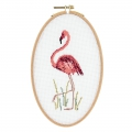 Kreuzstich Stickerei Set 21x13 cm rosa Flamingo