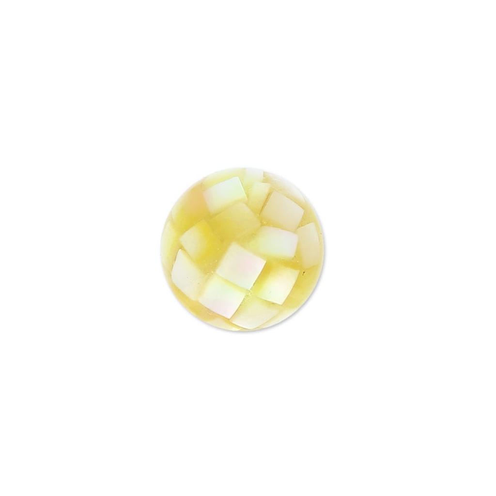 Perle Aus Perlmutt Mosaïk Effekt 10 Mm Gelb X1